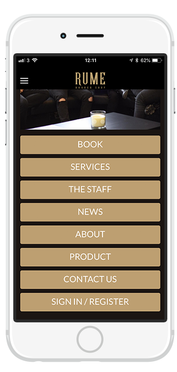 Our brand new app for Rume Barbers. Available to download for both iPhone and Android.