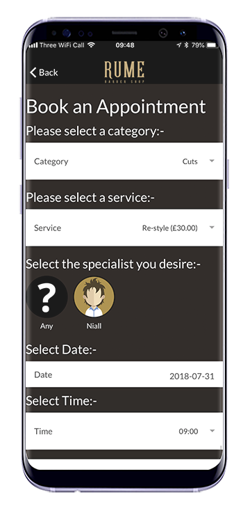 Booking couldn't be easier with our brand new app for Rume Barbers. Available to download for both iPhone and Android.