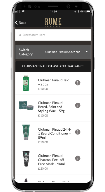 Shop our great products with our brand new app for Rume Barbers. Available to download for both iPhone and Android.